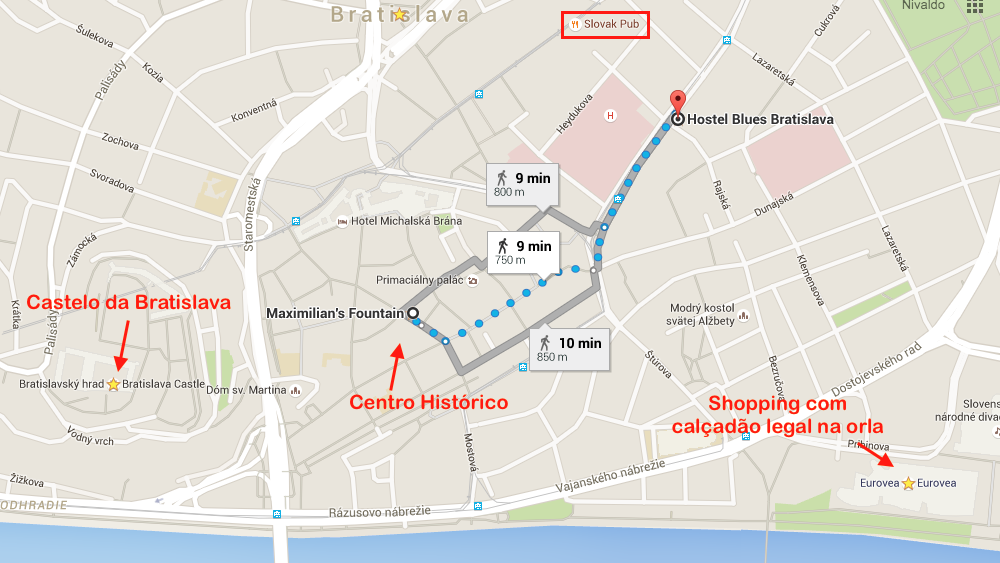 blue hostel mapa bratislava