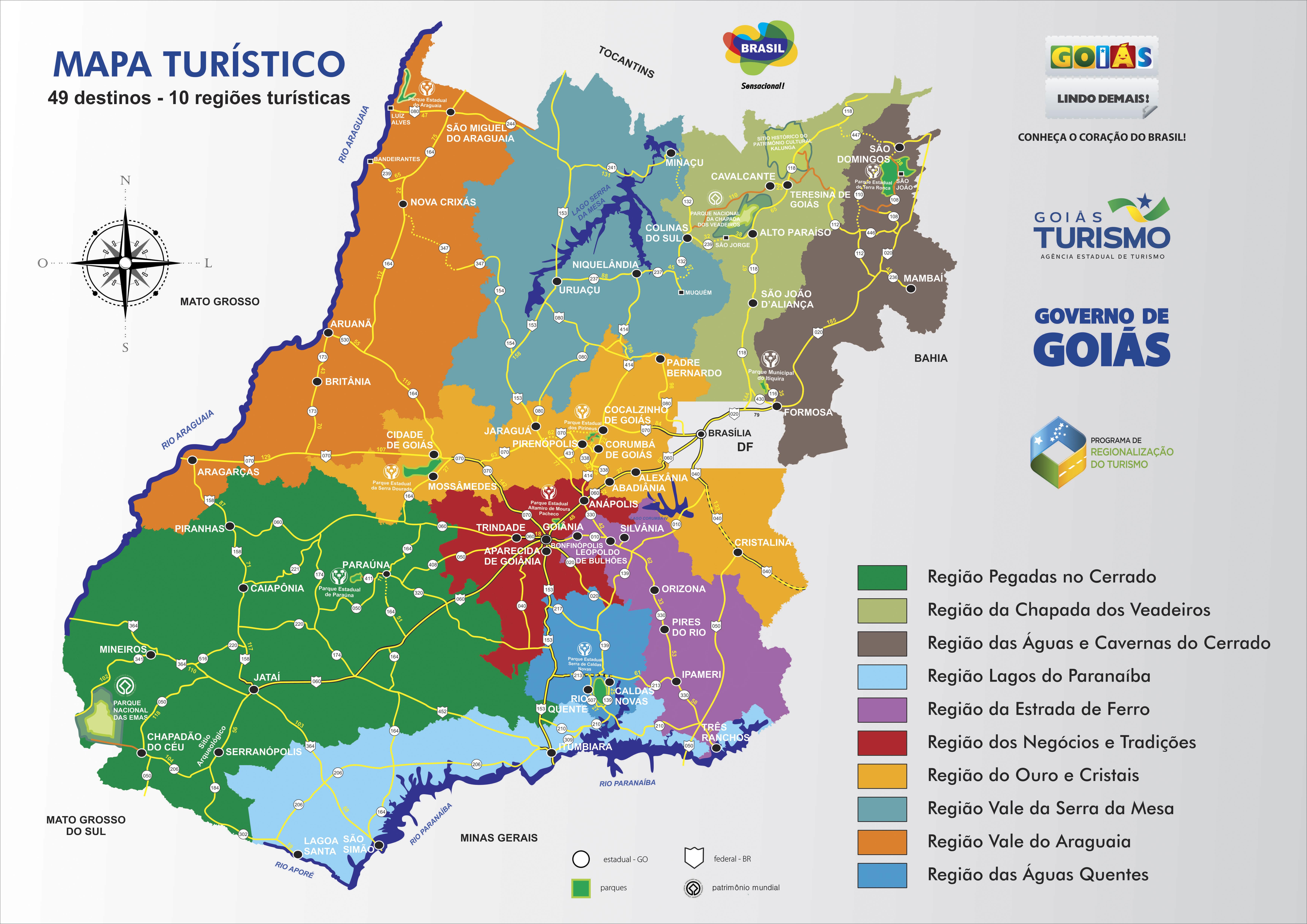 Mapa De Localização De Pontos De Vetor Localização De: Pontos Turísticos De Goiás Em Novo (e Interessante) Mapa