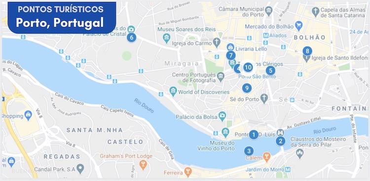 mapa de pontos turísticos do Porto